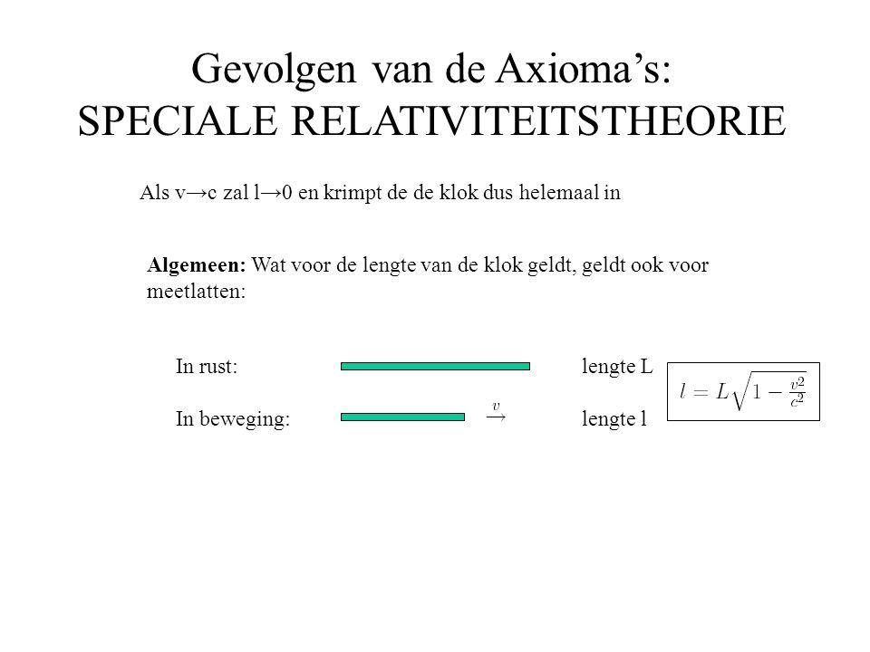 Gevolgen van de Axioma's: SPECIALE RELATIVITEITSTHEORIE Als v→c zal l→0 en krimpt de de klok dus helemaal in In rust: In beweging: lengte L lengte l A