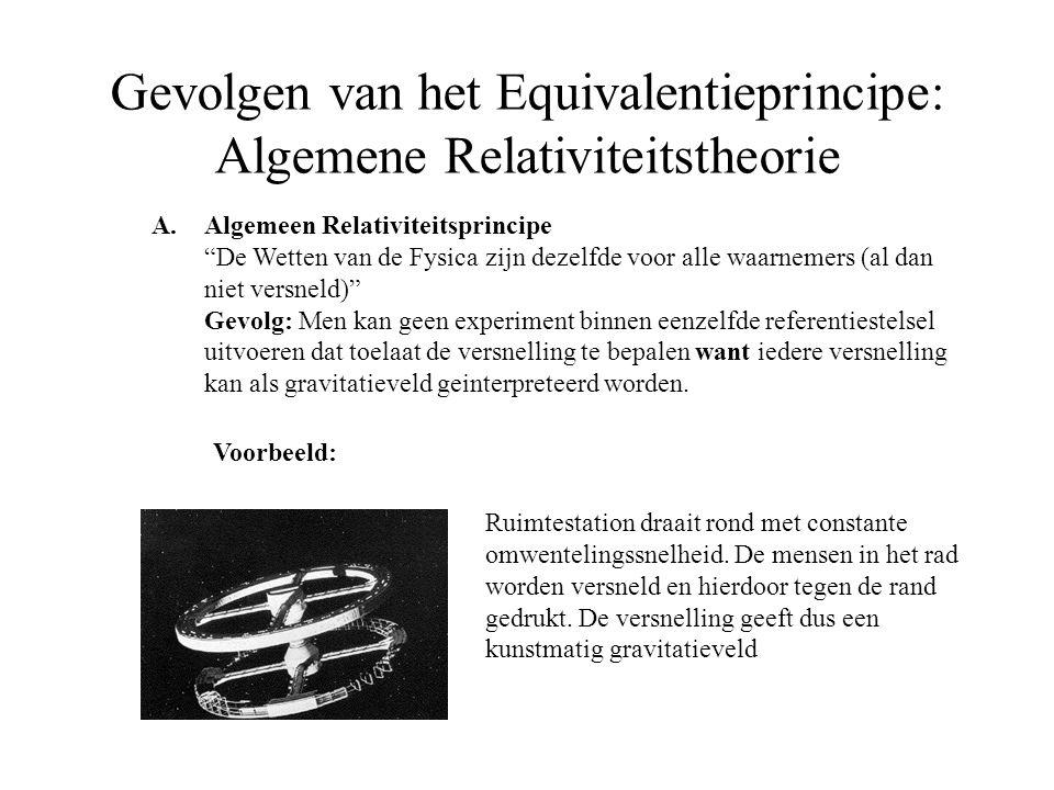 """Gevolgen van het Equivalentieprincipe: Algemene Relativiteitstheorie A.Algemeen Relativiteitsprincipe """"De Wetten van de Fysica zijn dezelfde voor alle"""
