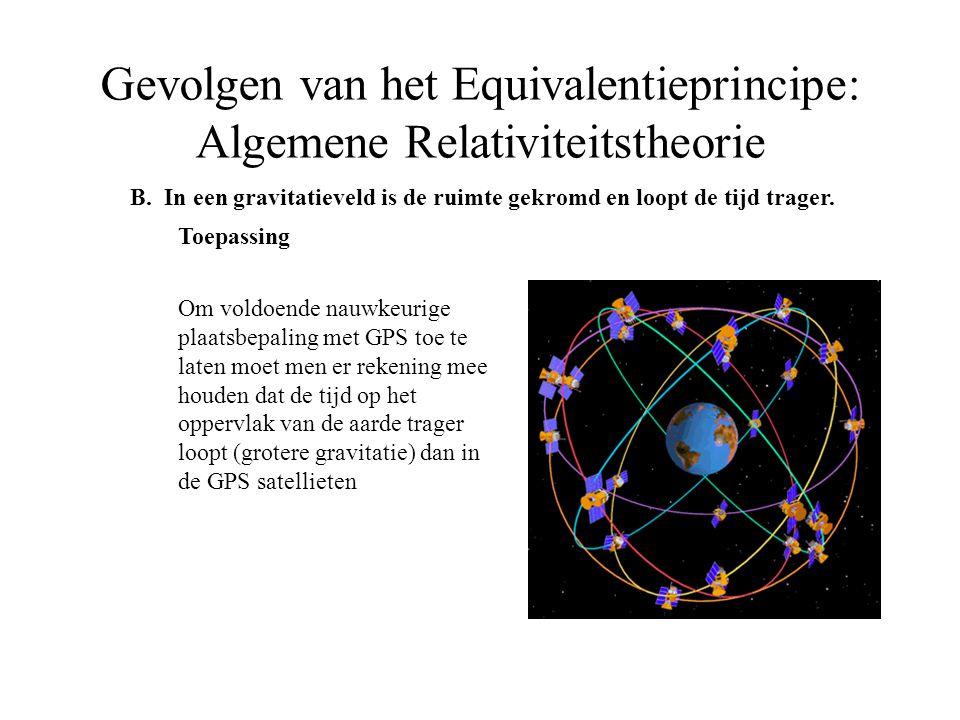 B. In een gravitatieveld is de ruimte gekromd en loopt de tijd trager. Toepassing Om voldoende nauwkeurige plaatsbepaling met GPS toe te laten moet me