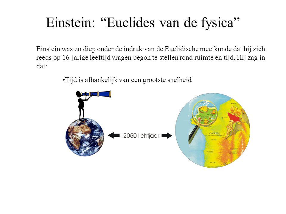 """Einstein: """"Euclides van de fysica"""" Einstein was zo diep onder de indruk van de Euclidische meetkunde dat hij zich reeds op 16-jarige leeftijd vragen b"""