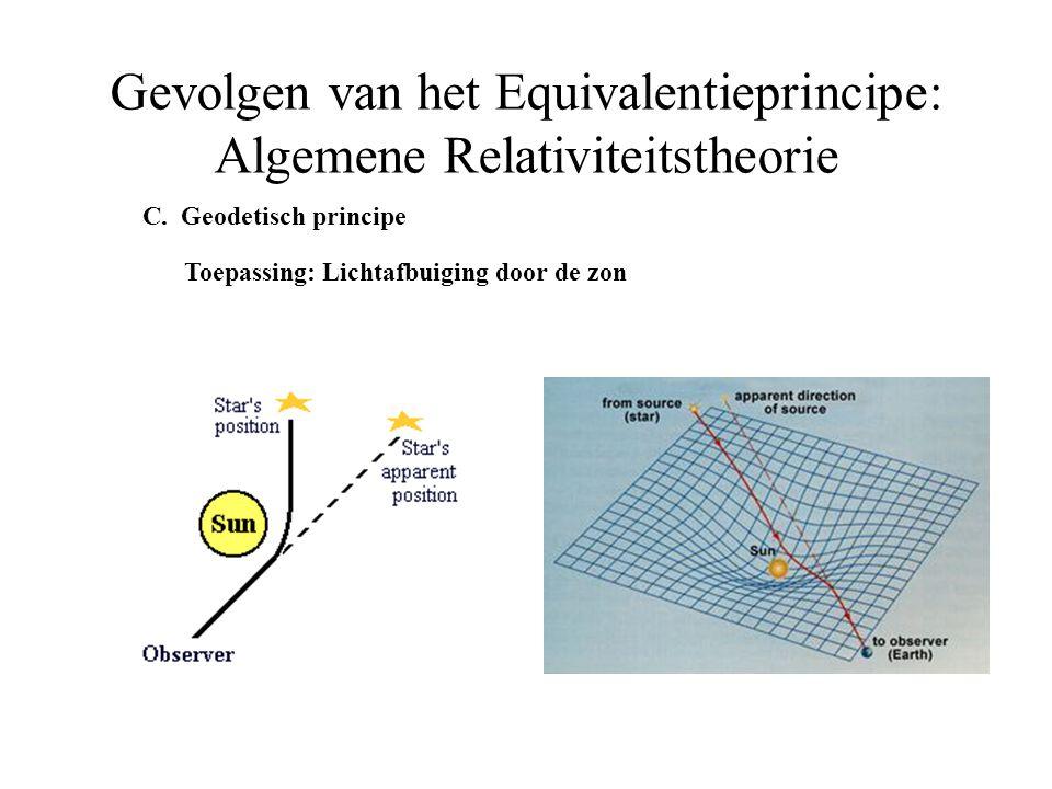 C. Geodetisch principe Toepassing: Lichtafbuiging door de zon Gevolgen van het Equivalentieprincipe: Algemene Relativiteitstheorie