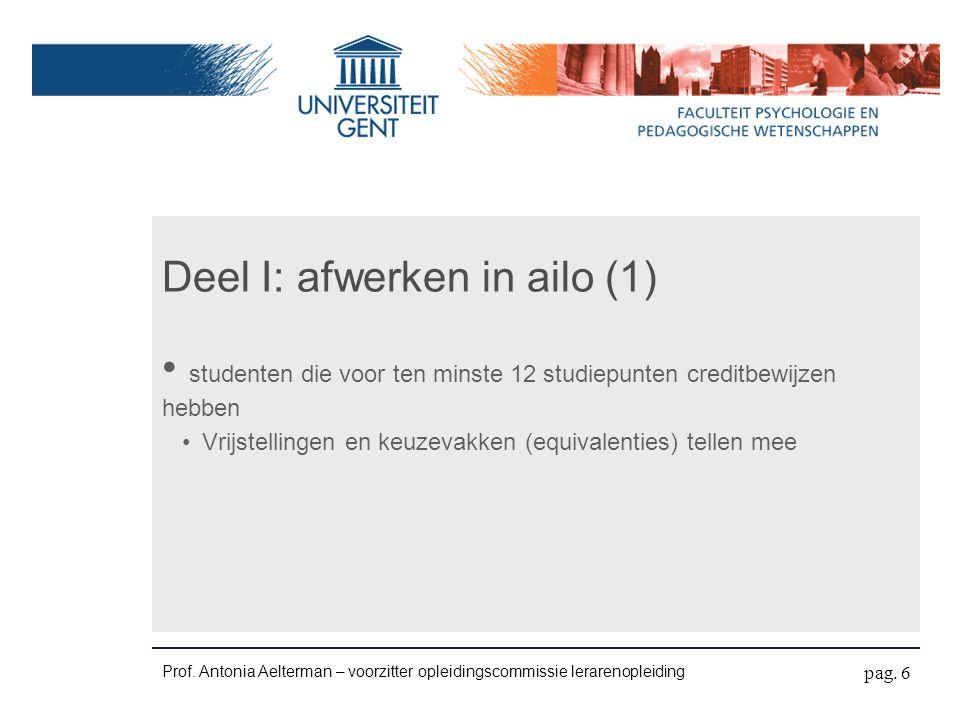 Deel I: afwerken in ailo (1) studenten die voor ten minste 12 studiepunten creditbewijzen hebben Vrijstellingen en keuzevakken (equivalenties) tellen mee Prof.