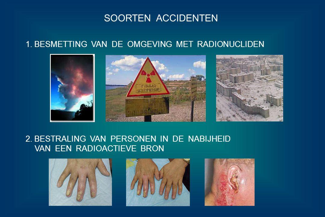 SOORTEN ACCIDENTEN 1. BESMETTING VAN DE OMGEVING MET RADIONUCLIDEN 2. BESTRALING VAN PERSONEN IN DE NABIJHEID VAN EEN RADIOACTIEVE BRON