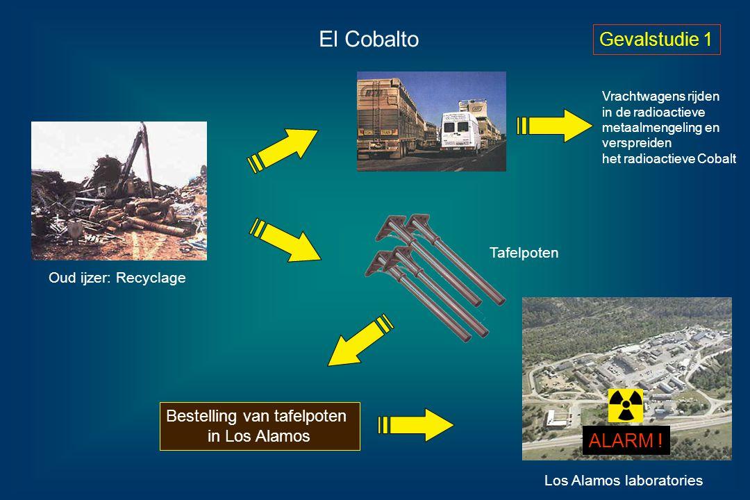 Los Alamos laboratories El Cobalto Oud ijzer: Recyclage Tafelpoten Vrachtwagens rijden in de radioactieve metaalmengeling en verspreiden het radioacti