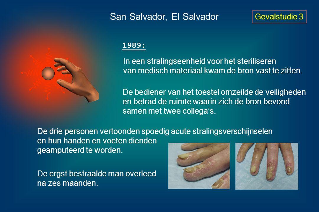 Gevalstudie 3 San Salvador, El Salvador 1989: In een stralingseenheid voor het steriliseren van medisch materiaal kwam de bron vast te zitten. De bedi