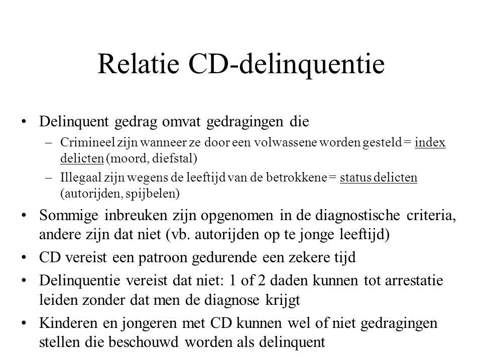 Relatie CD-delinquentie Delinquent gedrag omvat gedragingen die –Crimineel zijn wanneer ze door een volwassene worden gesteld = index delicten (moord,