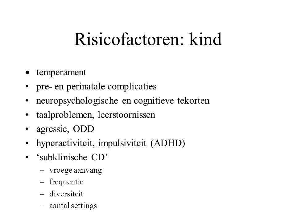 Risicofactoren: kind  temperament pre- en perinatale complicaties neuropsychologische en cognitieve tekorten taalproblemen, leerstoornissen agressie,
