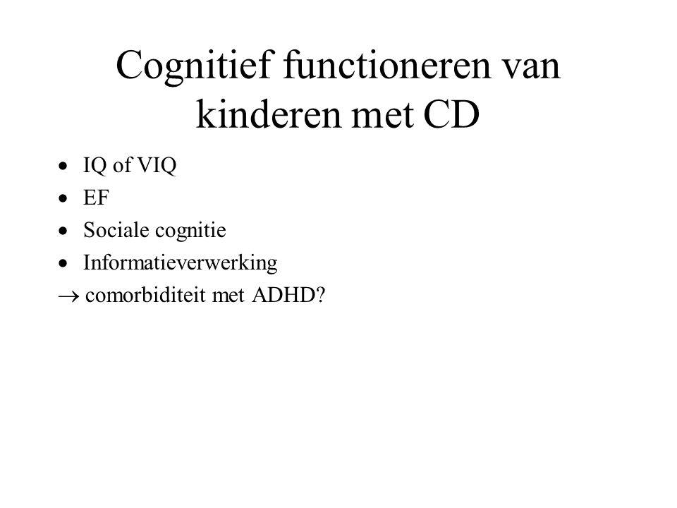 Cognitief functioneren van kinderen met CD  IQ of VIQ  EF  Sociale cognitie  Informatieverwerking  comorbiditeit met ADHD?
