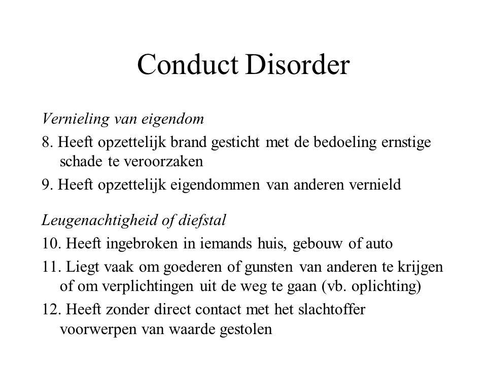 Conduct Disorder Vernieling van eigendom 8. Heeft opzettelijk brand gesticht met de bedoeling ernstige schade te veroorzaken 9. Heeft opzettelijk eige