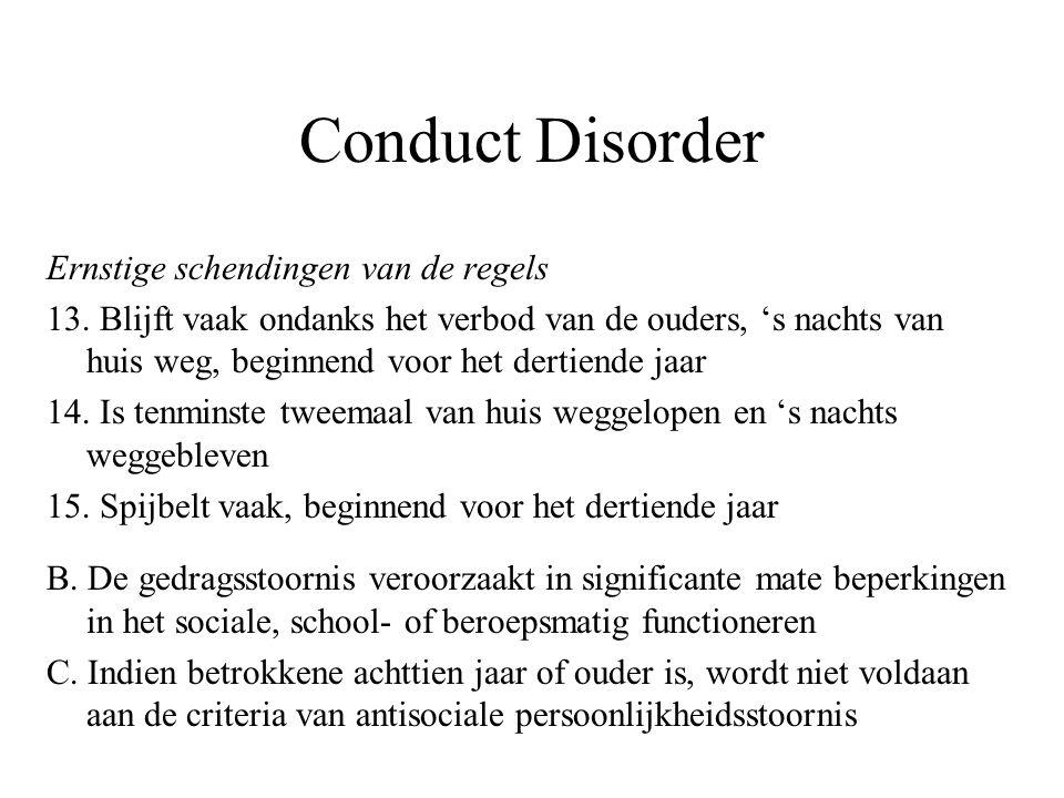 Conduct Disorder Specifieer: –Type beginnend in de kindertijd –Type beginnend in de adolescentie Specifieer: –Licht –Matig –Ernstig