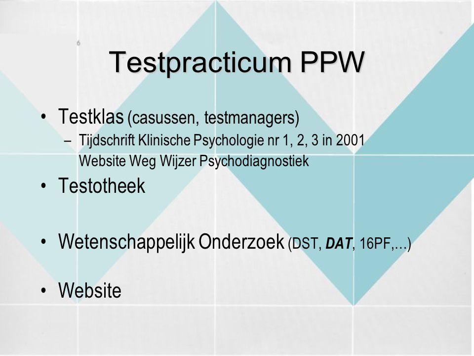 Testpracticum PPW Testklas (casussen, testmanagers) –Tijdschrift Klinische Psychologie nr 1, 2, 3 in 2001 Website Weg Wijzer Psychodiagnostiek Testoth