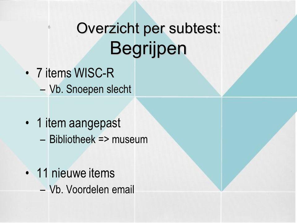 Overzicht per subtest: Begrijpen 7 items WISC-R –Vb. Snoepen slecht 1 item aangepast –Bibliotheek => museum 11 nieuwe items –Vb. Voordelen email