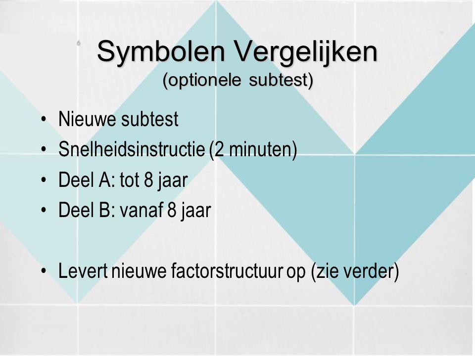 Symbolen Vergelijken (optionele subtest) Nieuwe subtest Snelheidsinstructie (2 minuten) Deel A: tot 8 jaar Deel B: vanaf 8 jaar Levert nieuwe factorst