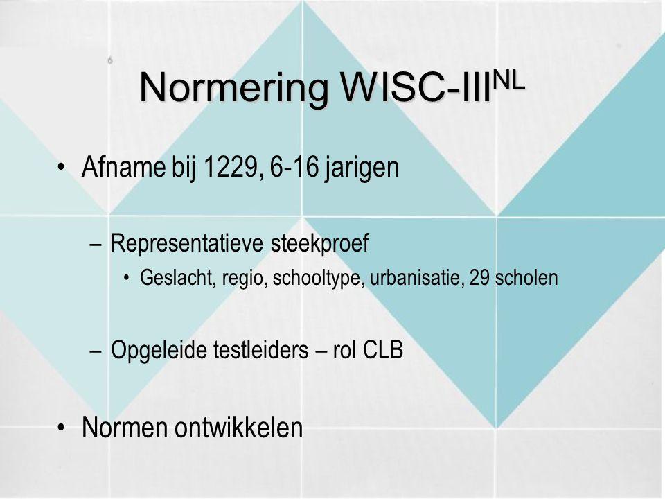 Normering WISC-III NL Afname bij 1229, 6-16 jarigen –Representatieve steekproef Geslacht, regio, schooltype, urbanisatie, 29 scholen –Opgeleide testle