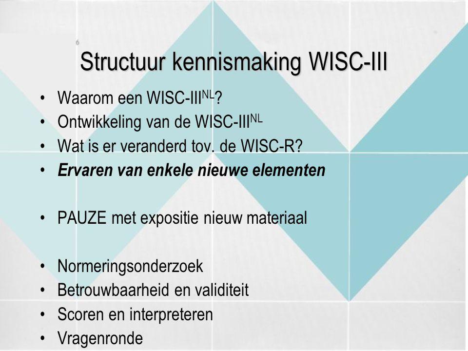 Structuur kennismaking WISC-III Waarom een WISC-III NL ? Ontwikkeling van de WISC-III NL Wat is er veranderd tov. de WISC-R? Ervaren van enkele nieuwe