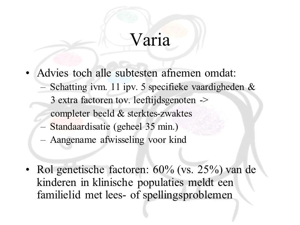 Varia Advies toch alle subtesten afnemen omdat: –Schatting ivm. 11 ipv. 5 specifieke vaardigheden & 3 extra factoren tov. leeftijdsgenoten -> complete