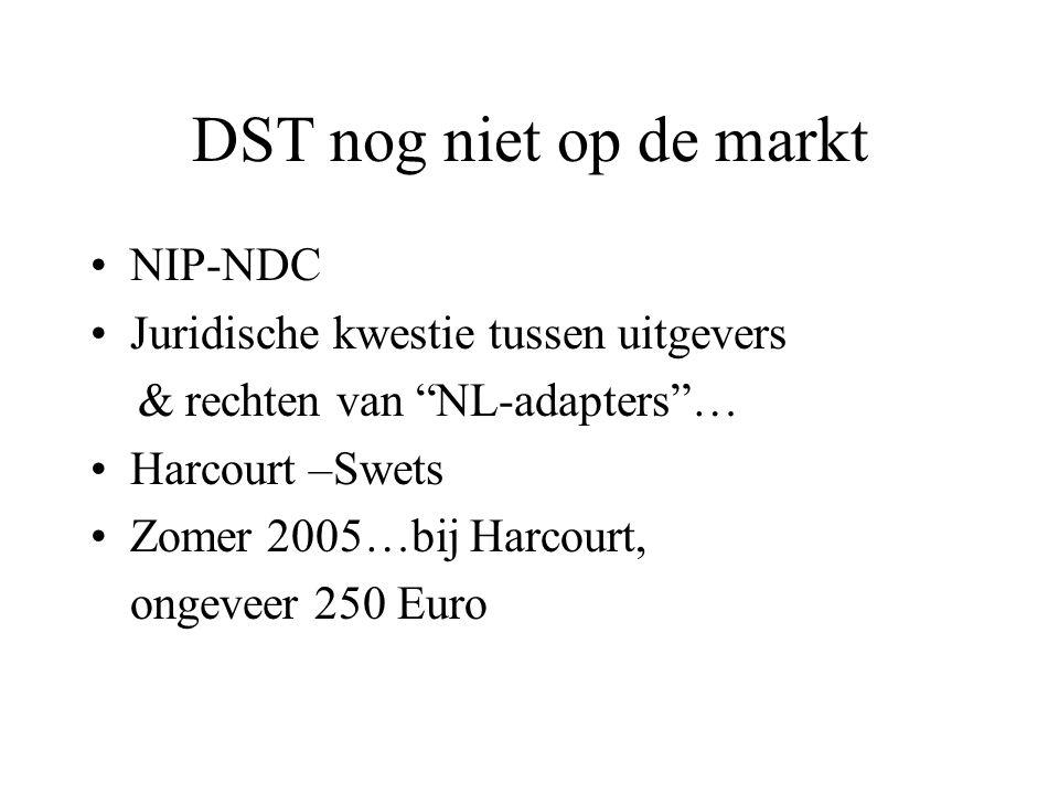 """DST nog niet op de markt NIP-NDC Juridische kwestie tussen uitgevers & rechten van """"NL-adapters""""… Harcourt –Swets Zomer 2005…bij Harcourt, ongeveer 25"""