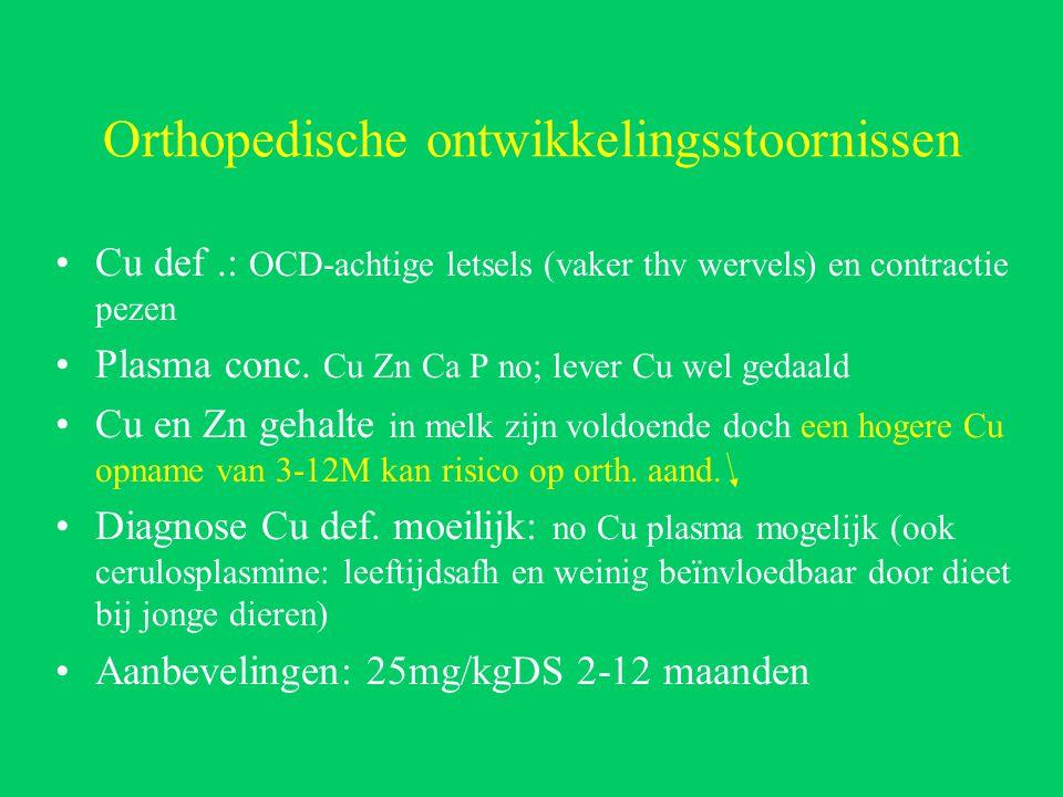 Orthopedische ontwikkelingsstoornissen Cu def.: OCD-achtige letsels (vaker thv wervels) en contractie pezen Plasma conc.
