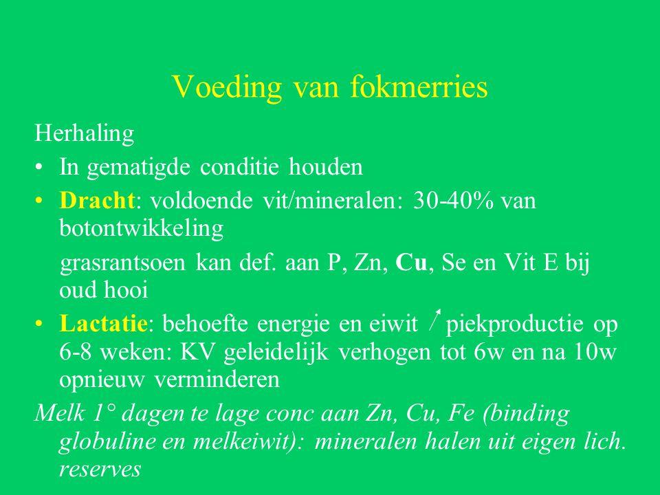 Voeding van fokmerries Herhaling In gematigde conditie houden Dracht: voldoende vit/mineralen: 30-40% van botontwikkeling grasrantsoen kan def.