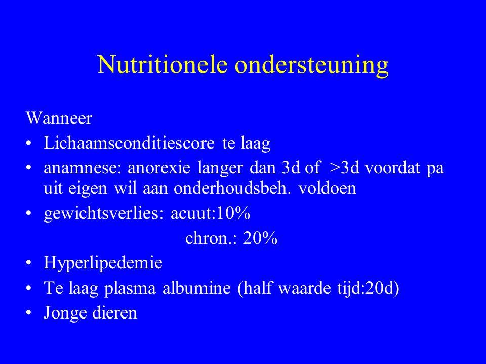 Nutritionele ondersteuning Wanneer Lichaamsconditiescore te laag anamnese: anorexie langer dan 3d of >3d voordat pa uit eigen wil aan onderhoudsbeh.