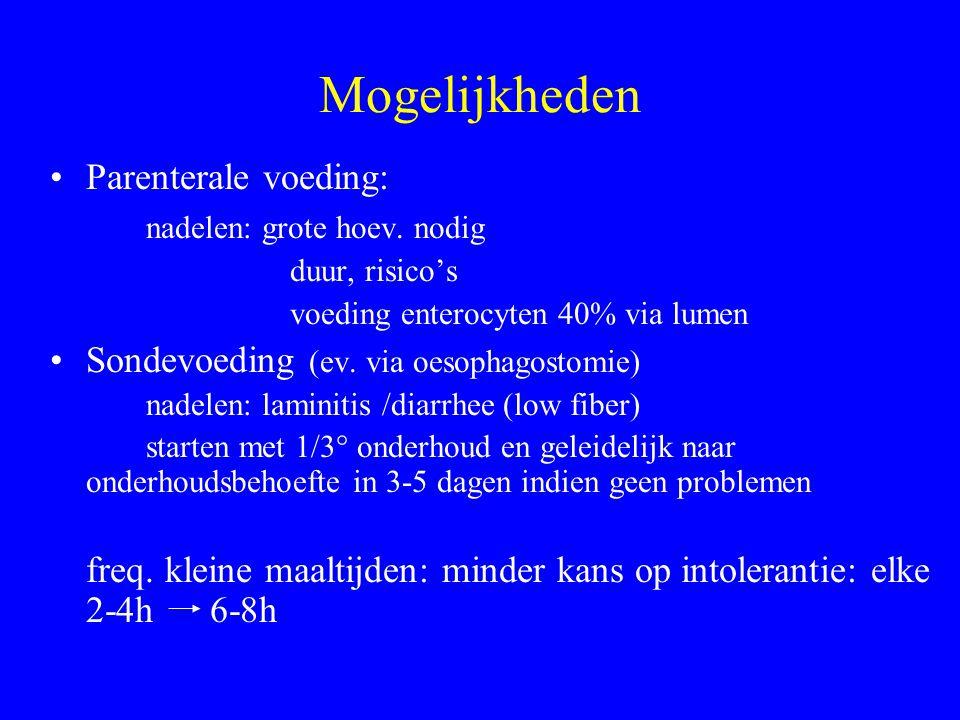 Mogelijkheden Parenterale voeding: nadelen: grote hoev.