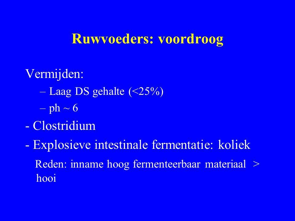 Ruwvoeders: voordroog Vermijden: –Laag DS gehalte (<25%) –ph ~ 6 - Clostridium - Explosieve intestinale fermentatie: koliek Reden: inname hoog fermenteerbaar materiaal > hooi