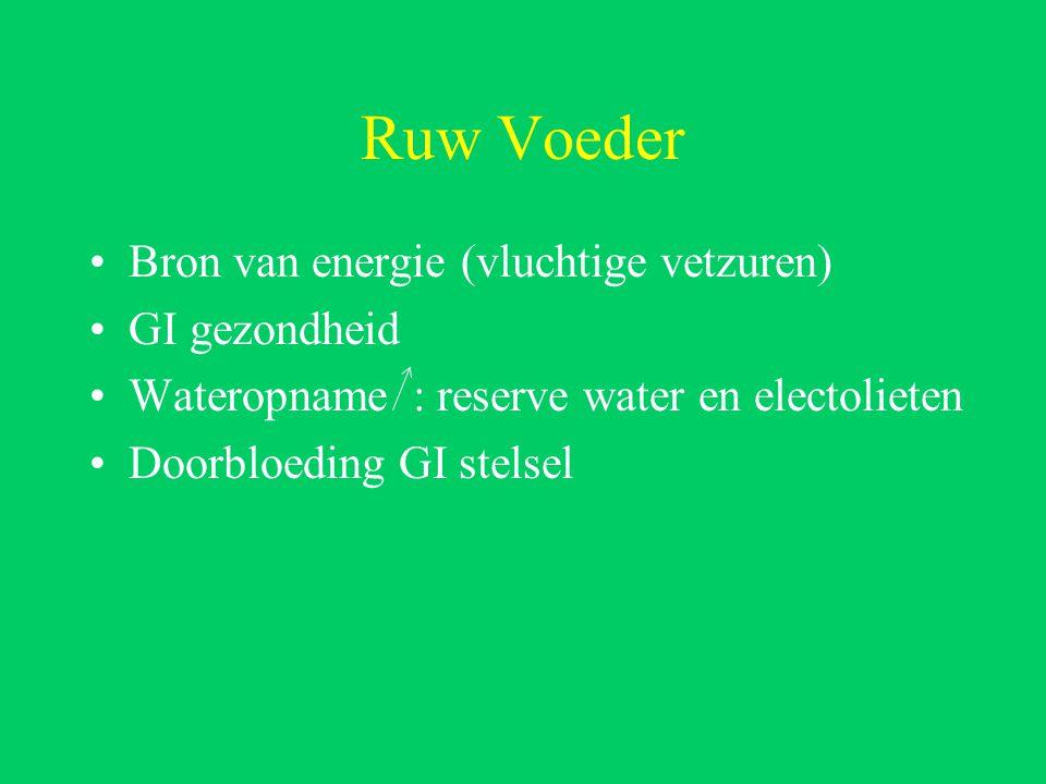 Ruw Voeder Bron van energie (vluchtige vetzuren) GI gezondheid Wateropname : reserve water en electolieten Doorbloeding GI stelsel