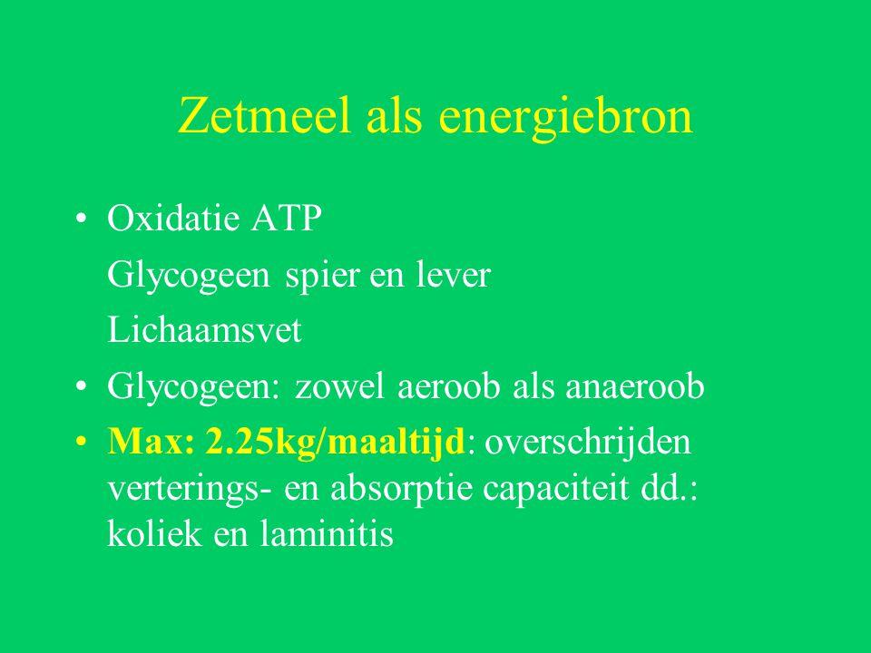 Zetmeel als energiebron Oxidatie ATP Glycogeen spier en lever Lichaamsvet Glycogeen: zowel aeroob als anaeroob Max: 2.25kg/maaltijd: overschrijden verterings- en absorptie capaciteit dd.: koliek en laminitis