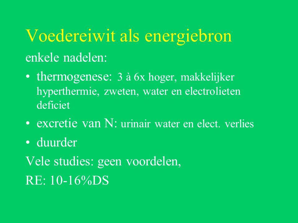 Voedereiwit als energiebron enkele nadelen: thermogenese: 3 à 6x hoger, makkelijker hyperthermie, zweten, water en electrolieten deficiet excretie van N: urinair water en elect.