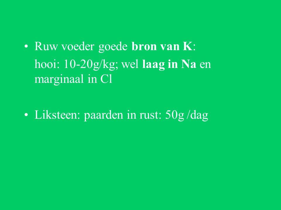Ruw voeder goede bron van K: hooi: 10-20g/kg; wel laag in Na en marginaal in Cl Liksteen: paarden in rust: 50g /dag