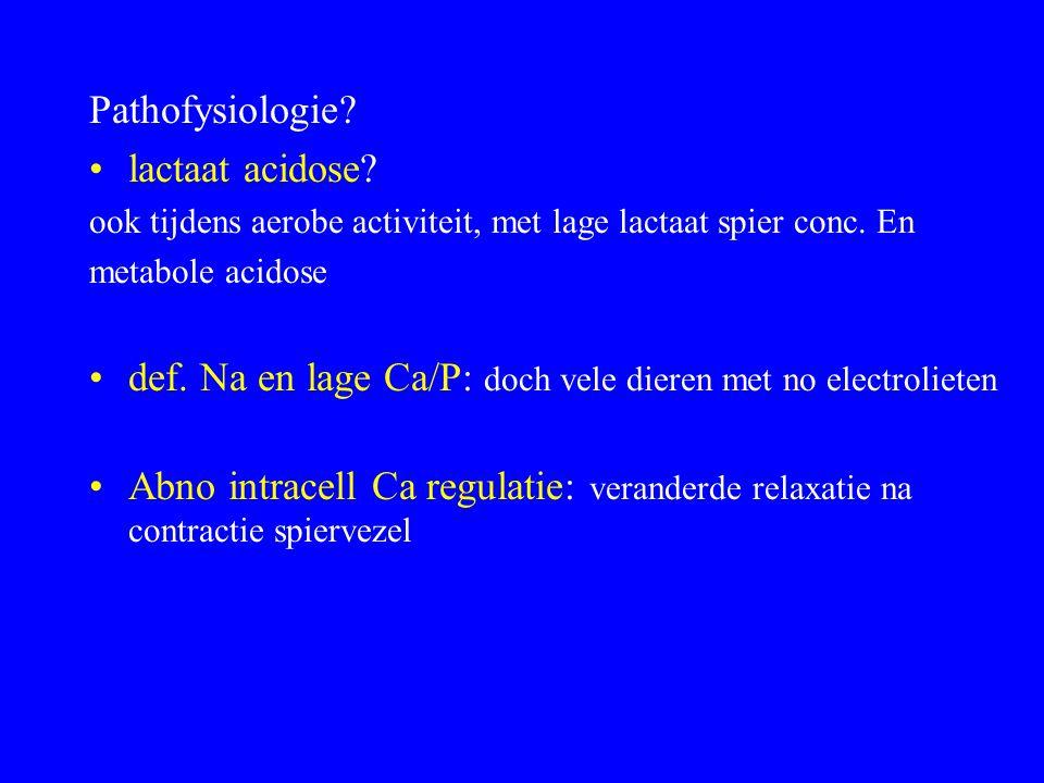 Pathofysiologie.lactaat acidose. ook tijdens aerobe activiteit, met lage lactaat spier conc.