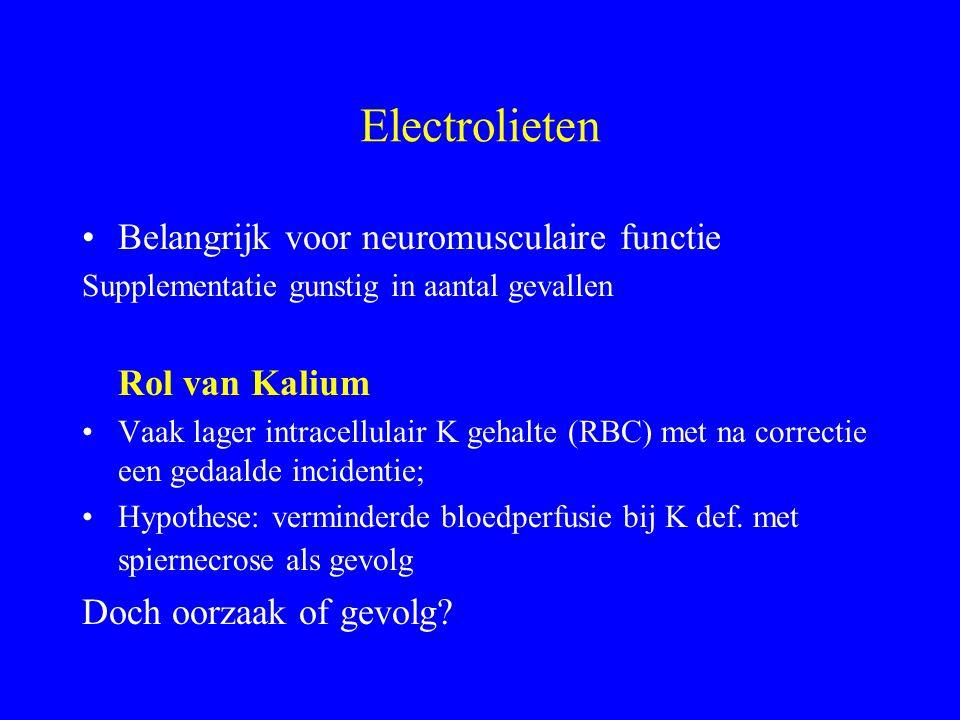 Electrolieten Belangrijk voor neuromusculaire functie Supplementatie gunstig in aantal gevallen Rol van Kalium Vaak lager intracellulair K gehalte (RBC) met na correctie een gedaalde incidentie; Hypothese: verminderde bloedperfusie bij K def.