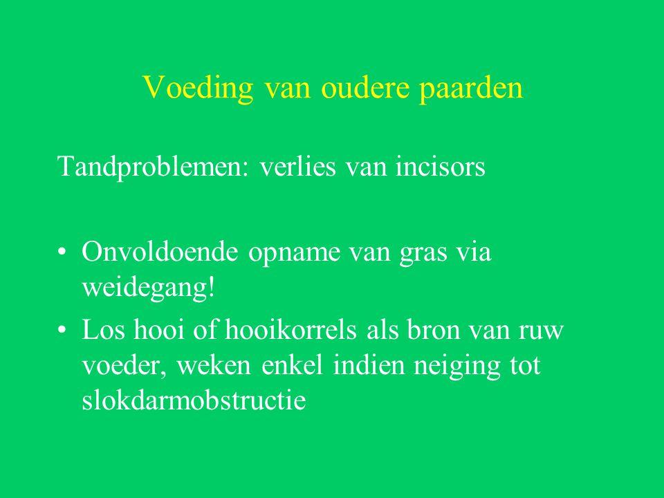 Voeding van oudere paarden Tandproblemen: verlies van incisors Onvoldoende opname van gras via weidegang.
