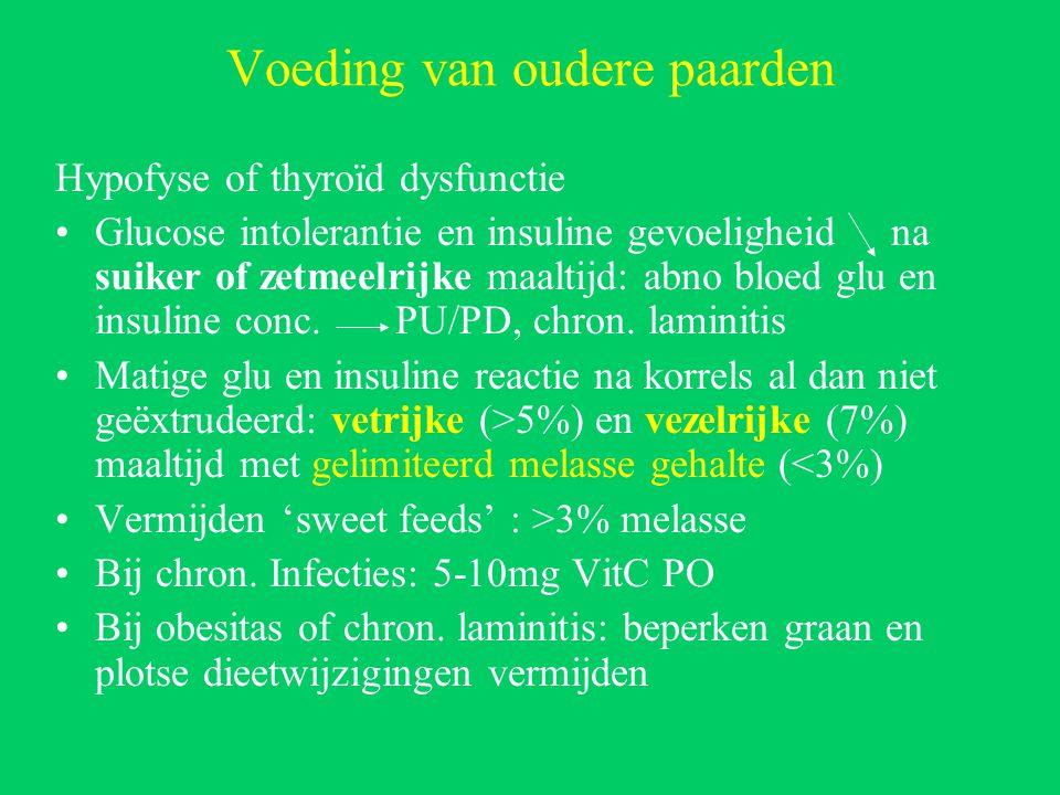 Voeding van oudere paarden Hypofyse of thyroïd dysfunctie Glucose intolerantie en insuline gevoeligheid na suiker of zetmeelrijke maaltijd: abno bloed glu en insuline conc.