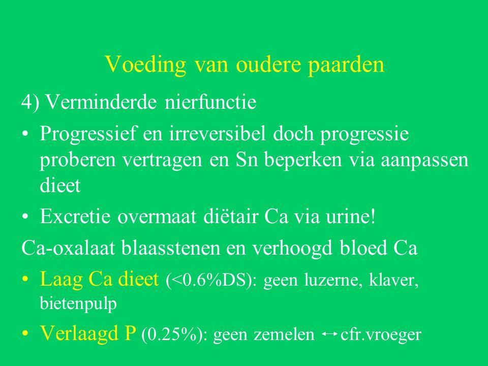Voeding van oudere paarden 4) Verminderde nierfunctie Progressief en irreversibel doch progressie proberen vertragen en Sn beperken via aanpassen dieet Excretie overmaat diëtair Ca via urine.