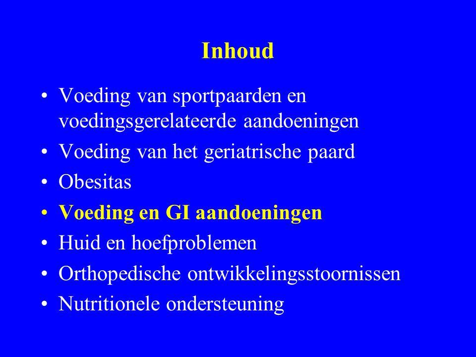 Inhoud Voeding van sportpaarden en voedingsgerelateerde aandoeningen Voeding van het geriatrische paard Obesitas Voeding en GI aandoeningen Huid en hoefproblemen Orthopedische ontwikkelingsstoornissen Nutritionele ondersteuning