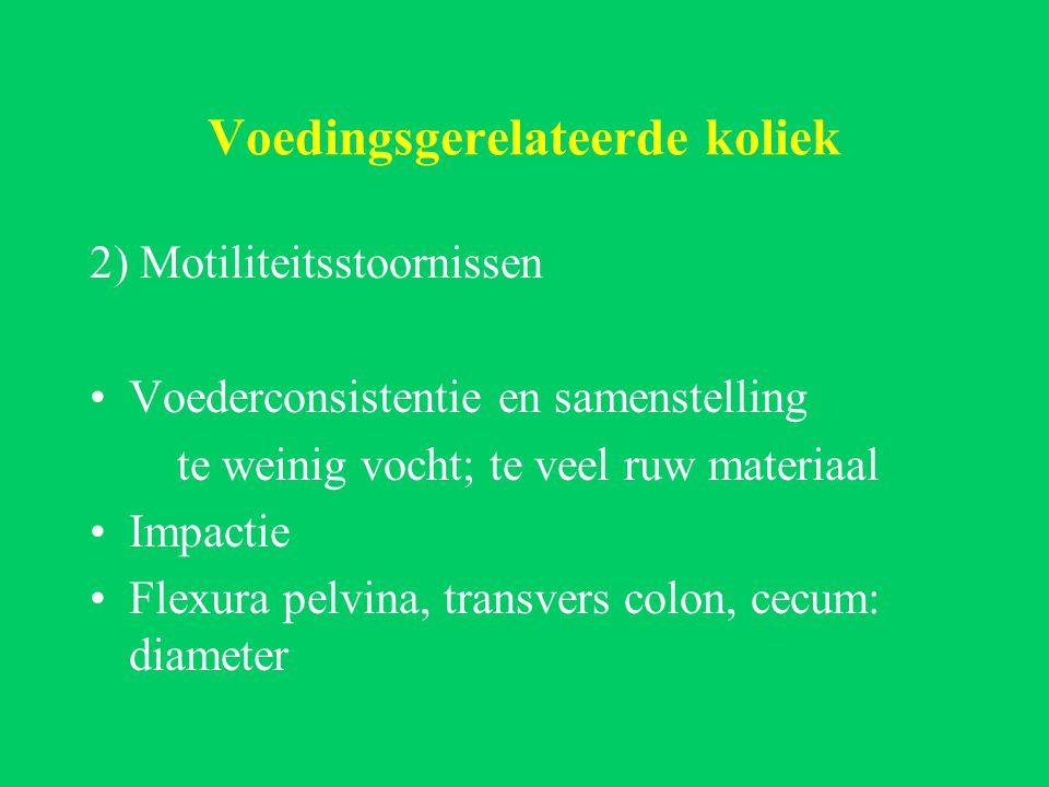Voedingsgerelateerde koliek 2) Motiliteitsstoornissen Voederconsistentie en samenstelling te weinig vocht; te veel ruw materiaal Impactie Flexura pelvina, transvers colon, cecum: diameter