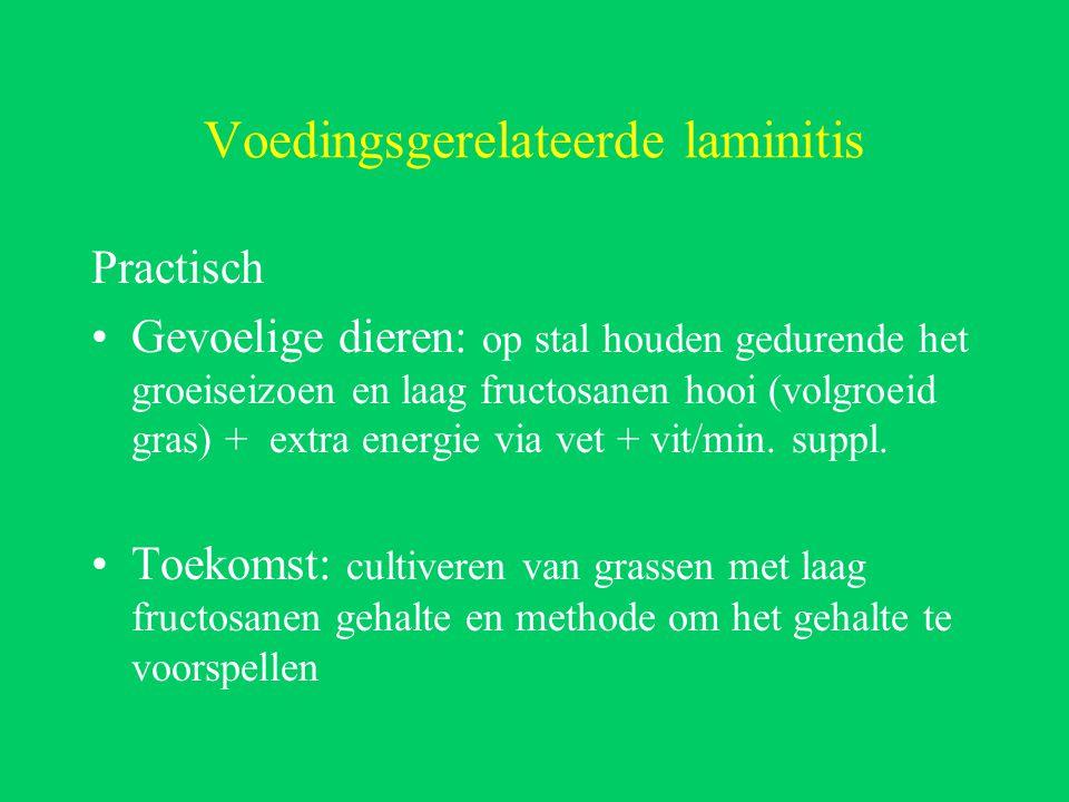 Voedingsgerelateerde laminitis Practisch Gevoelige dieren: op stal houden gedurende het groeiseizoen en laag fructosanen hooi (volgroeid gras) + extra energie via vet + vit/min.