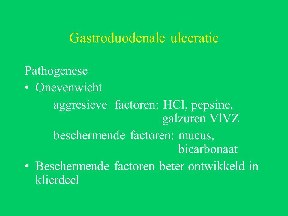 Gastroduodenale ulceratie Pathogenese Onevenwicht aggresieve factoren: HCl, pepsine, galzuren VlVZ beschermende factoren: mucus, bicarbonaat Beschermende factoren beter ontwikkeld in klierdeel