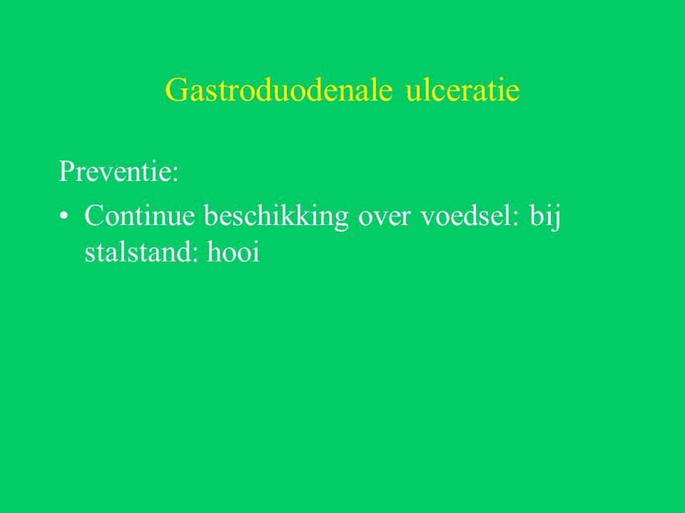 Gastroduodenale ulceratie Preventie: Continue beschikking over voedsel: bij stalstand: hooi