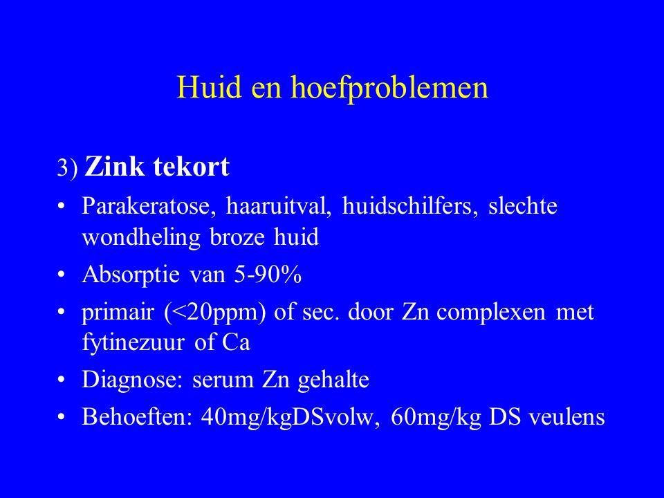 Huid en hoefproblemen 3) Zink tekort Parakeratose, haaruitval, huidschilfers, slechte wondheling broze huid Absorptie van 5-90% primair (<20ppm) of sec.