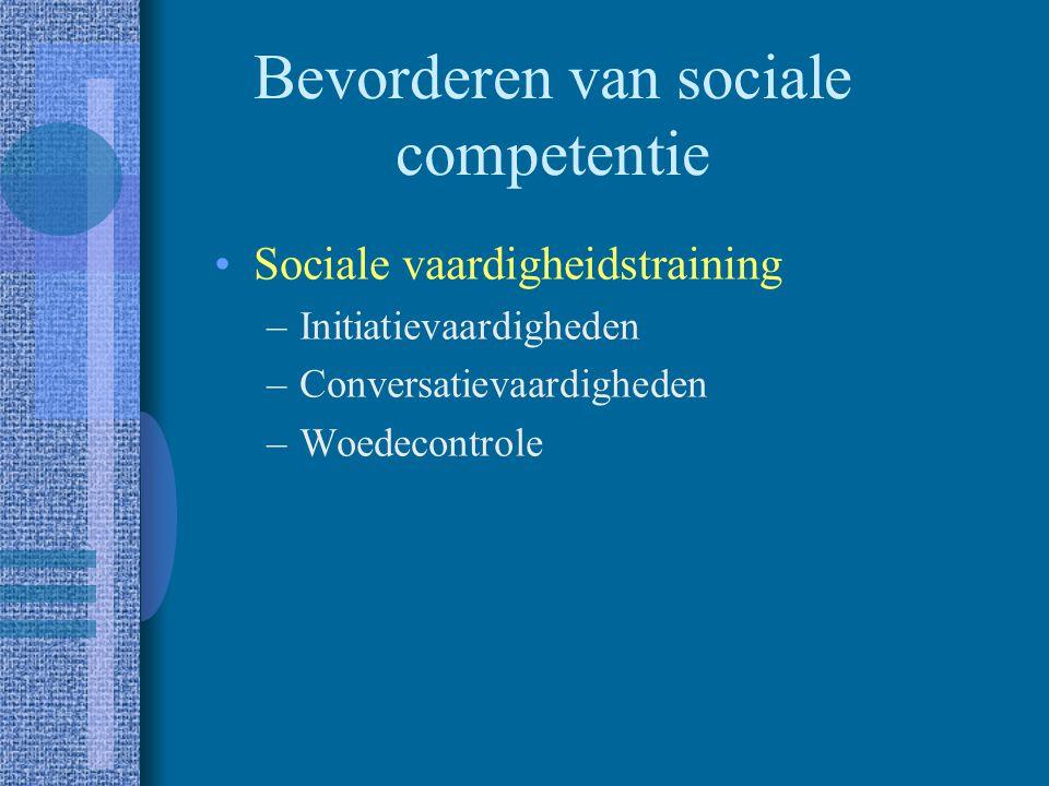Bevorderen van sociale competentie Sociale probleemoplossing –Probleemgevoeligheid –Probleemdefiniëring of - localisering –Genereren van alternatieven