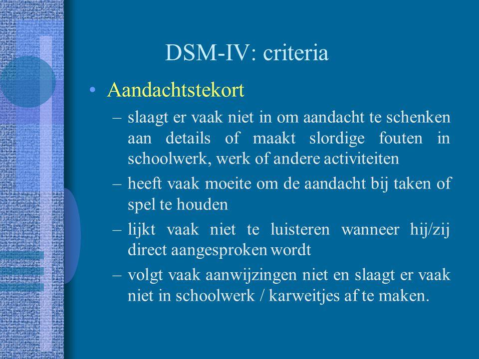 ADHD in de DSM DSM-III –ADD/H: 3 dimensies: aandachtstekort, impulsiviteit en hyperactiviteit DSM-III-R –ADHD: 1 dimensie DSM-IV –ADHD: 2 dimensies, 3