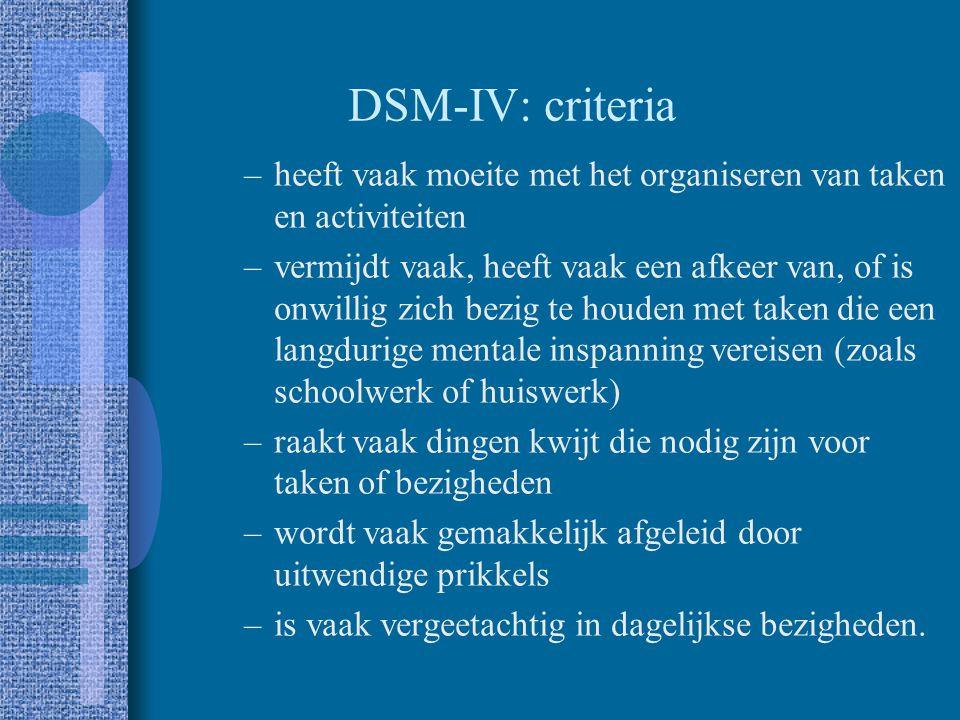 DSM-IV: criteria Aandachtstekort –slaagt er vaak niet in om aandacht te schenken aan details of maakt slordige fouten in schoolwerk, werk of andere ac
