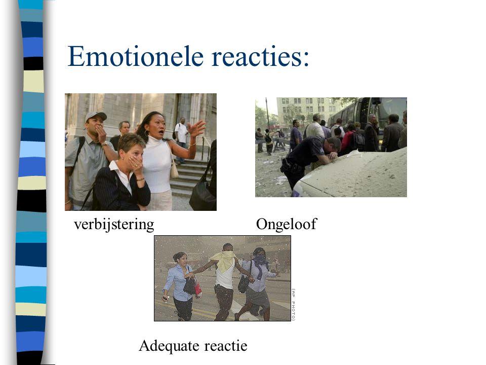 Emotionele reacties n Ongeloof en verbijstering n Tunnelzicht n Boosheid n Lichamelijke reacties n Verwarring