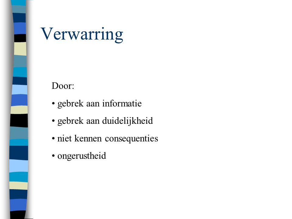 Verwarring Door: gebrek aan informatie gebrek aan duidelijkheid niet kennen consequenties ongerustheid