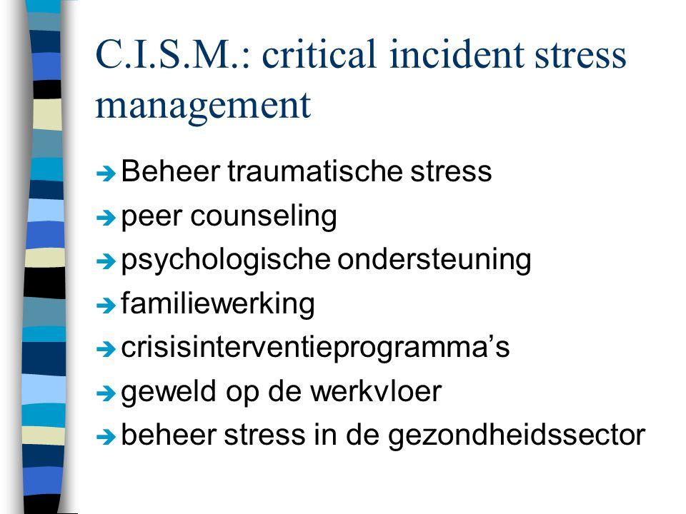 C.I.S.M.: critical incident stress management è Beheer traumatische stress è peer counseling è psychologische ondersteuning è familiewerking è crisisinterventieprogramma's è geweld op de werkvloer è beheer stress in de gezondheidssector