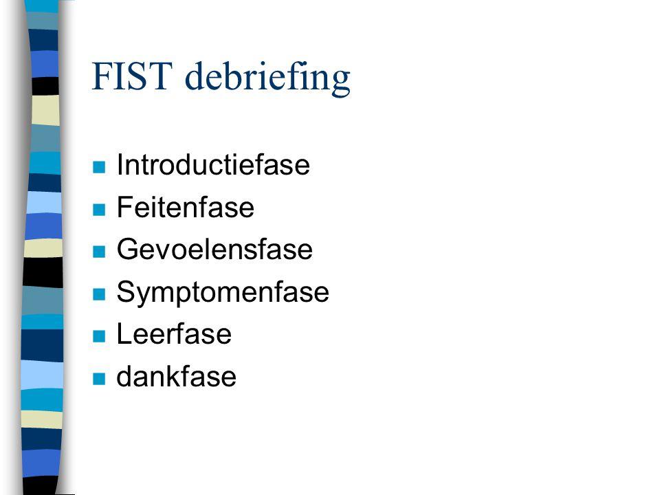 Verloop debriefing (2) n Introductiefase n feitenfase n gedachtenfase n reactiefase n symptomenfase n voorbereidingsfase n wederbeginfase