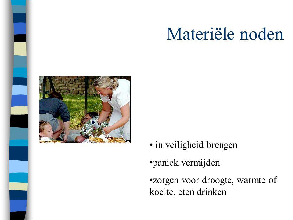 Materiële noden in veiligheid brengen paniek vermijden zorgen voor droogte, warmte of koelte, eten drinken
