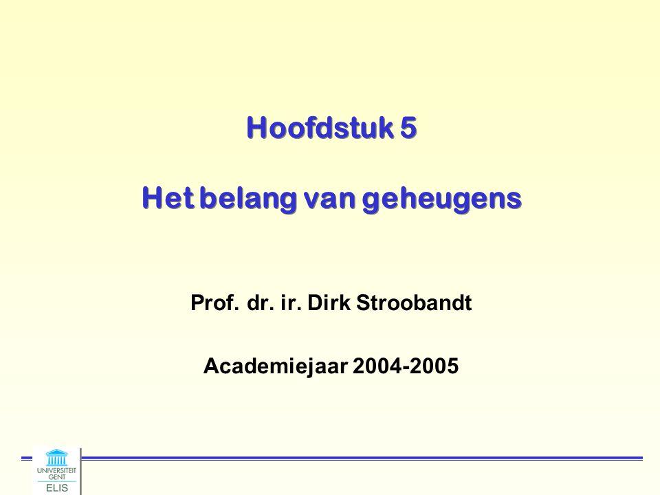 Hoofdstuk 5 Het belang van geheugens Prof. dr. ir. Dirk Stroobandt Academiejaar 2004-2005